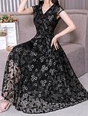 hesapli Print Dresses-Kadın's A Şekilli Elbise - Solid Maksi
