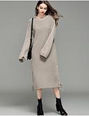 abordables Pulls & Gilets Femme-Femme Couleur Pleine Manches Longues Pullover, Col Arrondi Automne / Hiver Noir / Bleu clair / Beige Taille unique