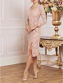 זול שמלות מקסי-מעטפת \ עמוד צווארון V באורך  הברך תחרה שמלה לאם הכלה  עם תחרה / שסע קדמי על ידי LAN TING Express