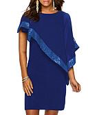 hesapli Sutyenler-Kadın's Büyük Bedenler Temel İnce Kılıf Elbise - Solid, Payetler Diz üstü