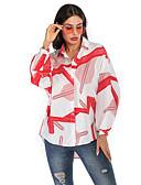 hesapli Tişört-Kadın's Gömlek Desen, Zıt Renkli Sokak Şıklığı / Zarif Açık Mavi