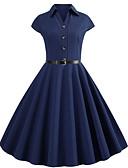 hesapli Vintage Kraliçesi-Kadın's Sokak Şıklığı Zarif A Şekilli Kılıf Elbise - Solid, Bağcık Midi