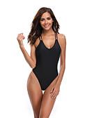 hesapli Bikiniler ve Mayolar-Kadın's Sportif Temel Siyah Boyundan Bağlamalı Yarım Tanga Tek Parçalılar Mayolar - Solid Arkasız Bağcık S M L Siyah