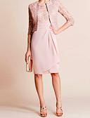 hesapli NYE Elbiseleri-Sütun / İki Parça Taşlı Yaka Diz Boyu Şifon / Dantelalar Dantelalar ile Gelin Annesi Elbisesi tarafından LAN TING Express / Şal dahildir