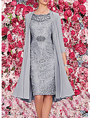 hesapli Romantik Dantel-Kadın's Zarif İki Parça Elbise - Solid, Dantel Diz-boyu