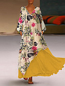 cheap Dresses For Date-Women's Swing Dress - Color Block Yellow Green Navy Blue S M L XL