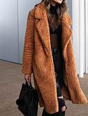 ราคาถูก โค้ท & เทรนช์โค้ทผู้หญิง-สำหรับผู้หญิง ทุกวัน / คลับ พื้นฐาน / Street Chic ตก / ฤดูหนาว ยาว Faux Fur Coat, สีพื้น Turndown แขนยาว ขนสัตว์เทียม / สังเคราะห์ อูฐ / อาร์มี่ กรีน / สีกากี / หลวม
