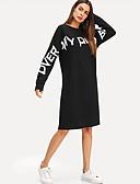 hesapli Kadın Elbiseleri-Kadın's Sokak Şıklığı Kombinezon Elbise - Harf, Desen Diz-boyu