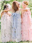hesapli Kız Çocuk Etekleri-Çocuklar Genç Kız sevimli Stil Solid Payetler Kolsuz Maksi Elbise Doğal Pembe / Pamuklu