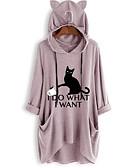 זול חולצה-חיה / אותיות בסיסי טוניקה - בגדי ריקוד נשים טלאים / דפוס חתול ורוד מסמיק