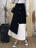 זול חצאיות לנשים-קולור בלוק - חצאיות גזרת A בסיסי בגדי ריקוד נשים שחור S M L