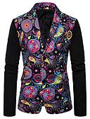 お買い得  メンズジャケット&コート-男性用 EU / USサイズ ブレザー ショールラペル ポリエステル レインボー