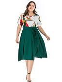 hesapli Büyük Beden Elbiseleri-Kadın's A Şekilli Elbise - Çiçekli, Desen Diz-boyu