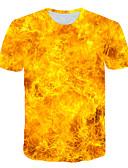 זול טישרטים לגופיות לגברים-אחיד / 3D / גראפי סגנון רחוב / מוּגזָם טישרט - בגדי ריקוד גברים דפוס צהוב