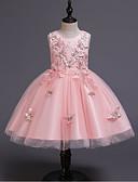 hesapli Elbiseler-Çocuklar Genç Kız Actif Tatlı Solid Örümcek Ağı Nakış Kolsuz Diz üstü Elbise Bej / Pamuklu