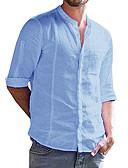 hesapli Erkek Gömlekleri-Erkek Pamuklu / Keten Dik Yaka Gömlek Kırk Yama, Solid Temel Açık Mavi