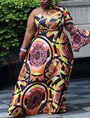hesapli Büyük Beden Elbiseleri-Kadın's Sokak Şıklığı sofistike Kombinezon Çan Elbise - Geometrik Ekose Maksi