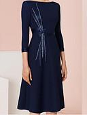 זול שמלות ערב-גזרת A עם תכשיטים באורך  הברך פוליאסטר שמלה לאם הכלה  עם סרט / סלסולים על ידי LAN TING Express