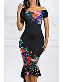 olcso Maxi ruhák-Női Bodycon Ruha Virágos Aszimmetrikus Aszimmetrikus