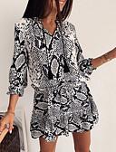 hesapli Mini Elbiseler-Kadın's İnce Kılıf Elbise - Geometrik V Yaka Mini