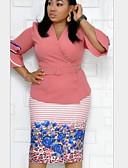 Недорогие Платья-Жен. Облегающий силуэт Платье - Цветочный принт До колена
