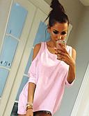 billige T-skjorter til damer-T-skjorte Dame - Ensfarget, Lapper Grunnleggende Hvit Svart