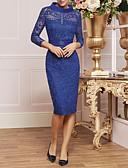 hesapli Gelin Annesi Elbiseleri-Sütun Yüksek Yaka Diz Boyu Dantelalar Kristal Detaylar / Kurdeleler ile Gelin Annesi Elbisesi tarafından LAN TING Express