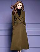 billige Dame Trench Coats-Dame Daglig / Arbeid Vintage / Militær Høst vinter Lang Trenchcoat, Ensfarget Aftæpning Langermet Fuskepels Lapper Svart / Militærgrønn
