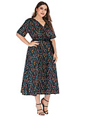 זול שמלות במידות גדולות-מידי דפוס, מנוקד - שמלה גזרת A בסיסי בגדי ריקוד נשים