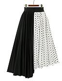 halpa Naisten hameet-Naisten Pluskoko Tyylikästä ja modernia Epäsymmetrinen A-linja Hameet Polka Dot / Patchwork Musta Valkoinen L XL XXL / Laskostettu