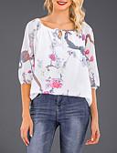 hesapli Gömlek-Kadın's Düşük Omuz Tişört Desen, Çiçekli Sokak Şıklığı Dışarı Çıkma Büyük Bedenler Siyah / Bahar