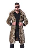 povoljno Muške jakne i kaputi-Muškarci Izlasci Osnovni Jesen zima Veličina EU / SAD Dug Faux Fur Coat, Jednobojni / Leopard Rolled collar Dugih rukava Umjetno krzno Crn / Svjetlosmeđ / Obala