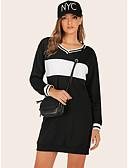 hesapli Maksi Elbiseler-Kadın's Sokak Şıklığı Kombinezon Elbise - Zıt Renkli, Kırk Yama Diz üstü Siyah ve Beyaz