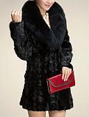 povoljno Ženske kaputi od kože i umjetne kože-Žene Dnevno Osnovni Dug Faux Fur Coat, Jednobojni Odbačenost Dugih rukava Umjetno krzno Crn