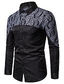 זול חולצות לגברים-אחיד / פרחוני בוהו / אלגנטית חולצה - בגדי ריקוד גברים טלאים / דפוס שחור