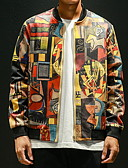 Недорогие Мужские куртки и пальто-Муж. Повседневные Весна Размер ЕС / США Обычная Куртка, Геометрический принт V-образный вырез Длинный рукав Полиэстер С принтом Желтый / Тонкие