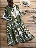 olcso Női ruhák-Női Vintage Sellő fazon Ruha - Kollázs Nyomtatott, Mértani Aszimmetrikus Cseresznye