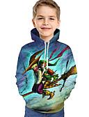 povoljno Majice s kapuljačama i trenirke za dječake-Djeca Dijete koje je tek prohodalo Dječaci Aktivan Osnovni Geometrijski oblici Galaksija Print Print Dugih rukava Trenirka s kapuljačom Svijetlo zelena