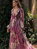 hesapli Gömlek-Kadın's Zarif Çan Elbise - Çiçekli, Çiçek Tarzı Derin V Maksi