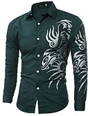 hesapli Erkek Gömlekleri-Erkek Gömlek Grafik Siyah