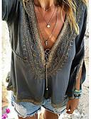 billige Skjorter til damer-V-hals T-skjorte Dame - Ensfarget Gatemote Mørkegrå
