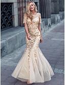 זול שמלות ערב-בתולת ים \ חצוצרה עם תכשיטים שובל סוויפ \ בראש פוליאסטר / ניילון / טול בהשפעת וינטאג' ערב רישמי שמלה עם נצנצים על ידי LAN TING Express