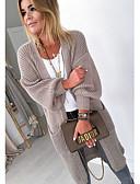 povoljno Ženski džemperi-Žene Jednobojni Dugih rukava Kardigan, V izrez Jesen Blushing Pink / Sive boje / Žutomrk S / M / L