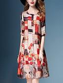 זול שמלות מודפסות-עד הברך פרחוני קולור בלוק - שמלה ישרה בסיסי בגדי ריקוד נשים