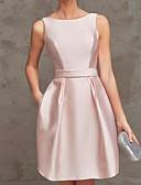 זול שמלות קוקטייל-גזרת A סירה רחב קצר \ מיני סאטן מסיבת קוקטייל שמלה עם סרט על ידי LAN TING Express