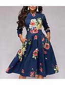 זול שמלות מודפסות-עד הברך קפלים, פרחוני - שמלה גזרת A סגנון רחוב אלגנטית בגדי ריקוד נשים