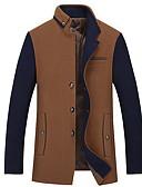 זול גברים-ג'קטים ומעילים-בגדי ריקוד גברים יומי רגיל ג'קט, קולור בלוק עומד שרוול ארוך פוליאסטר יין / אפור / חאקי