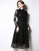 זול תחרה רומטנית-שחור כחול מידי טלאים, אחיד - שמלה גזרת A נדן בסיסי אלגנטית בגדי ריקוד נשים