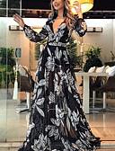 Недорогие Платья-Жен. С летящей юбкой Платье - Цветочный принт Макси