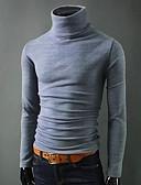저렴한 남성 스웨터 & 가디건-남성용 솔리드 긴 소매 풀오버, 터틀넥 블랙 / 와인 / 라이트 그레이 US32 / UK32 / EU40 / US34 / UK34 / EU42 / US36 / UK36 / EU44